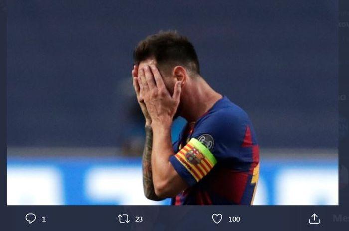 Ekspresi Lionel Messi saat Barcelona digebuk Bayern Muenchen di Liga Champions, 14 Agustus 2020.