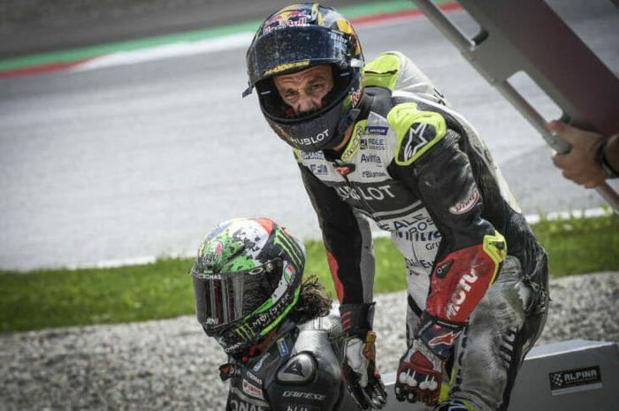 Pembalap Avinta Ducati, Johann Zarco setelah terlibat kecelakaan hebat dengan murid Valentino Rossi, Franco Morbidelli pada MotoGP Austria 2020.