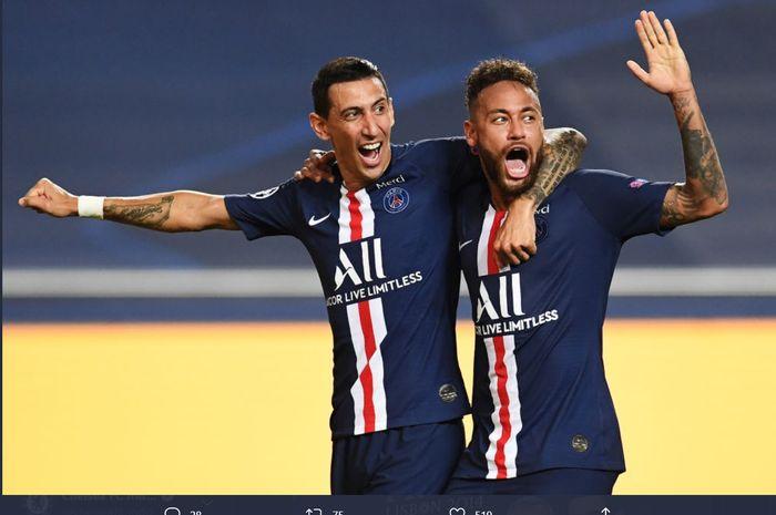 Momen Angel Di Maria dan Neymar merayakan gol dalam laga semifinal Liga Champions 2019-2020 kontra RB Leizpig.
