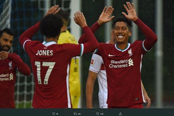Liverpool menang 3-0 melawan VfB Stuttgart pada laga pra-musim pertamanya di Stadion Sportplatz Langau, Austria, Sabtu (22/8/2020).