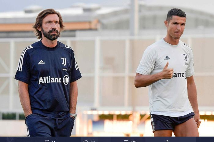 Momen kebersamaan pelatih baru Juventus, Andrea Pirlo, dan Cristiano Ronaldo usai menjalani sesi latihan.