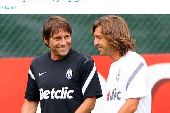 Antonio Conte dan Andrea Pirlo saat masih sama-sama memperkuat Juventus