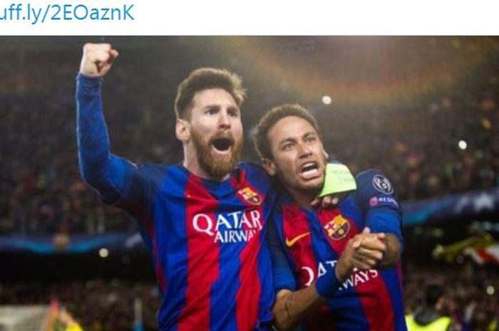 Lionel Messi dan Neymar melakukan selebrasi saat sama-sama membela Barcelona.