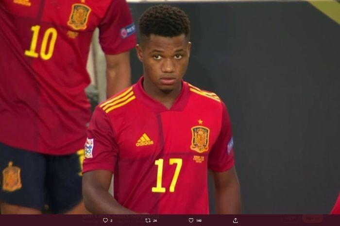 Ansu Fati mencatatkan debutnya untuk timnas senior Spanyol dalam laga kontra Jerman, Kamis (3/9/2020).