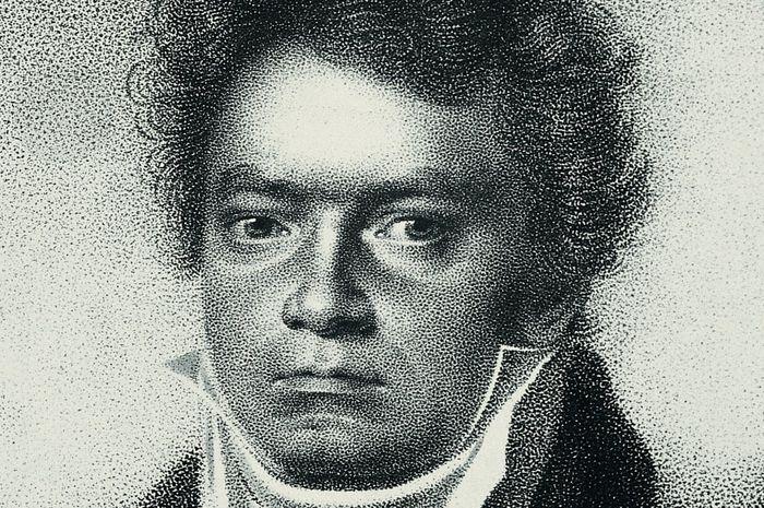 Sebuah lukisan Ludwig van Beethoven tahun 1814 oleh Blasius Hoefel, setelah gambar Louis Letronne.