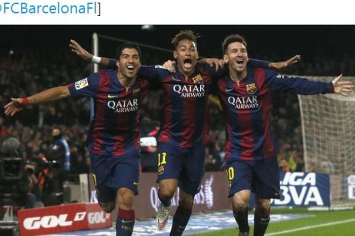 Luis Suarez, Neymar, dan Lionel Messi melakukan selebrasi saat sama-sama berseragam Barcelona.