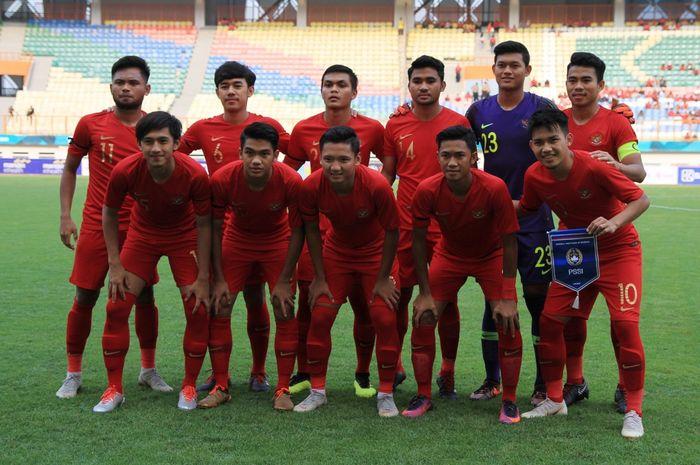 Skuad timnas U-19 Indonesia saat menghadapi Arab Saudi di Stadion Wibawa Mukti, Cikarang, Rabu (10/10/2018).