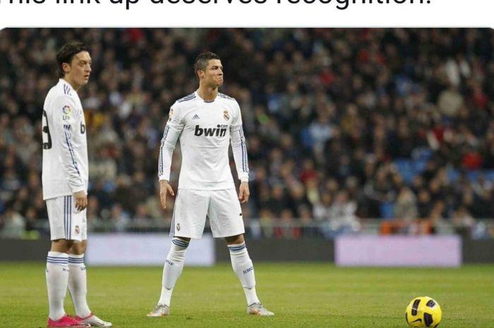 Mesut Oezil dan Cristiano Ronaldo saat masih memperkuat Real Madrid.