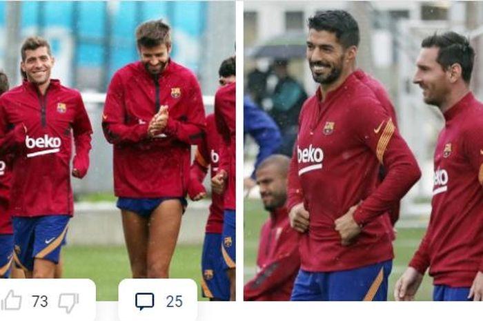 Para pemain Barcelona tersenyum saat menjalani sesi latihan, Rabu (9/9/2020), termasuk Luis Suarez dan Lionel Messi.