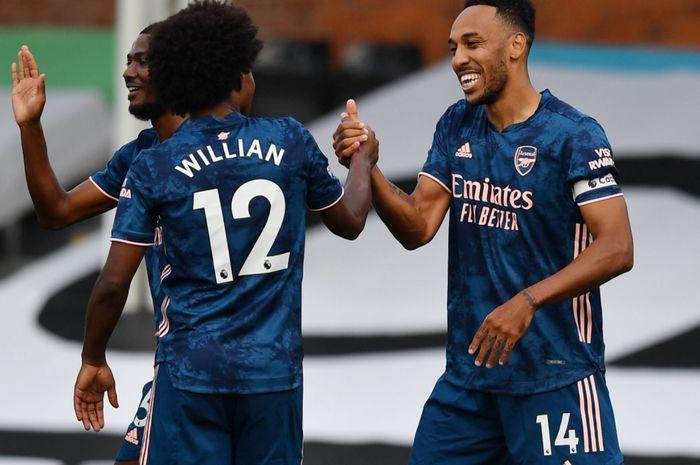 Willian dan Pierre-Emerick Aubameyang menjadi kunci kemenangan Arsenal atas Fulham dalam laga perdana Liga Inggris 2020-2021, Sabtu (12/9/2020).