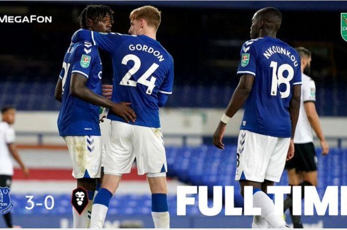 Everton menggilas Salford City 3-0 pada laga babak kedua Piala Liga Inggris, Rabu (16/9/2020).