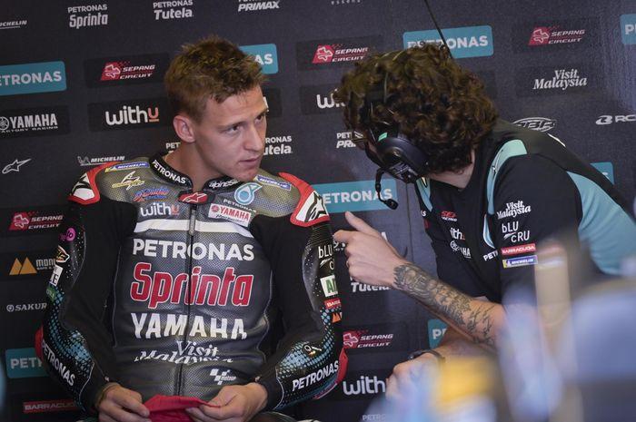 Pembalap Petronas Yamaha SRT, Fabio Quartararo, saat sesi tes di Sirkuit Misano, Selasa (15/9/2020).