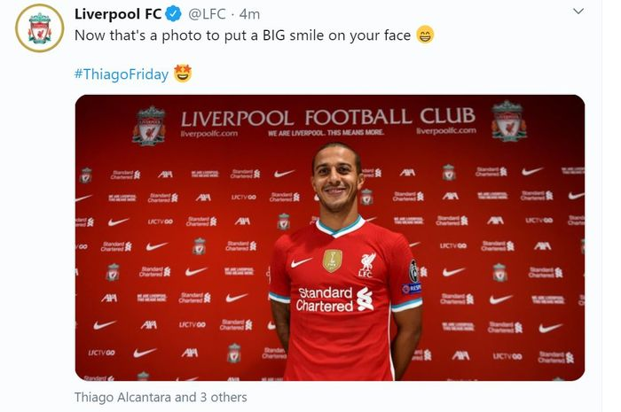 Liverpool resmi mengumumkan transfer Thiago Alcantara pada Jumat (18/9/2020) malam WIB.