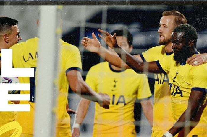 Para pemain Tottenham Hotspur merayakan gol yang dicetak ke gawang Lokomotiv Plovdiv dalam laga babak kualifikasi II Liga Europa di Stadion Lokomotiv Plovdiv, Kamis (17/9/2020). (TWITTER.COM/SPURSOFFICIAL)
