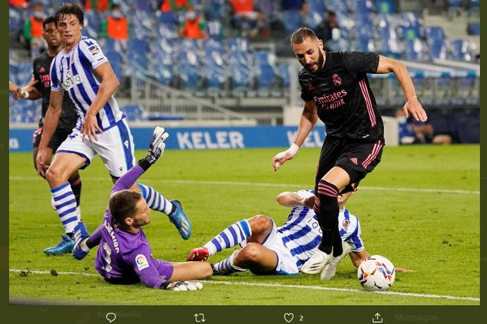 Karim Benzema gagal menjebol gawang Alex Remiro dalam duel Liga Spanyol Real Sociedad vs Real Madrid, 20 September 2020.