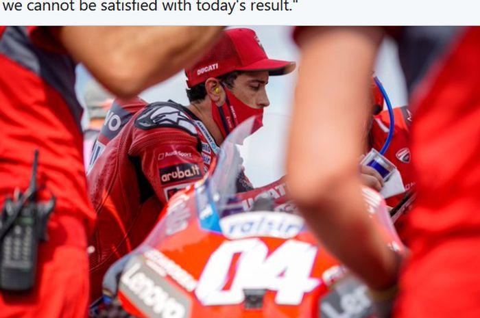 Pembalap Ducati, Andrea Dovizioso, tidak puas dengan penampilannya pada balapan MotoGP San Marino di Sirkuit Misano, Italia, 20 September 2020.