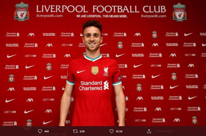 Diogo Jota, penyerang baru Liverpool yang direkrut dari Wolverhampton Wandereres.