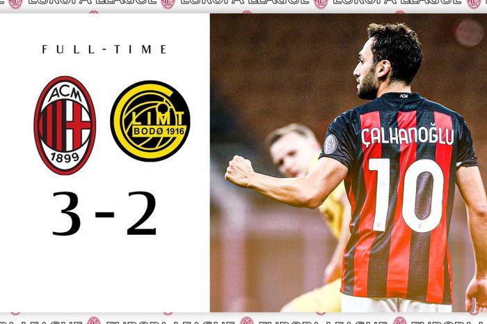 Hakan Calhanoglu, tampil brilian membawa AC Milan menang 3-2 atas Bodo/Glimt di babak kualifikasi III Liga Europa, Kamis (24/9/2020) di San Siro.
