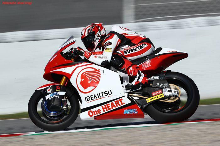 Pembalap Indonesia, Andi Farid Izdihar alias Andi Gilang, pada Moto2 Teruel 2020 di Sirkuit Motorland Aragon, Minggu (25/10/2020).