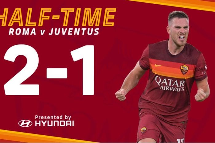 Babak pertama laga AS Roma vs Juventus di Liga Italia berakhir 1-1, Minggu (27/9/2020) di Stadion Olimpico Roma.