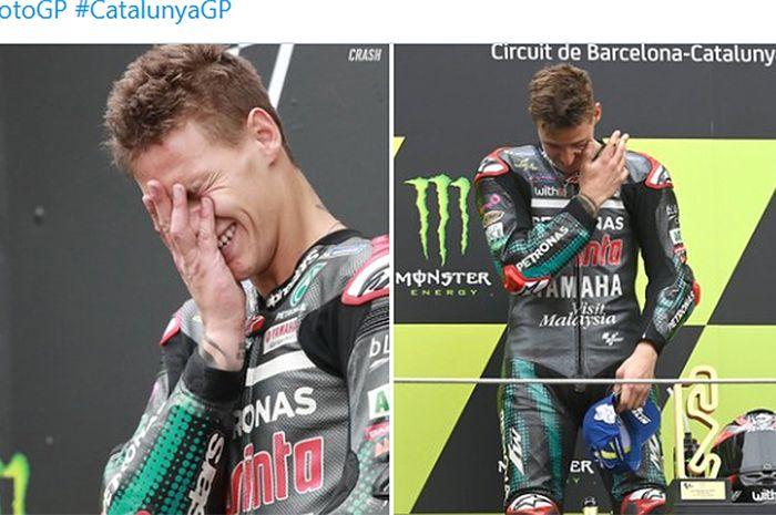 Pembalap Petronas Yamaha SRT, Fabio Quartararo, menangis setelah berhasil memenangi balapan MotoGP Catalunya di Sirkuit Catalunya, Spanyol, 27 September 2020.