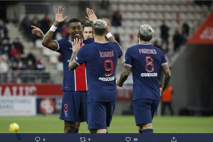 Mauro Icardi, mencetak 2 gol yang membawa PSG mengalahkan Reims di Liga Prancis, Minggu (27/9/2020).