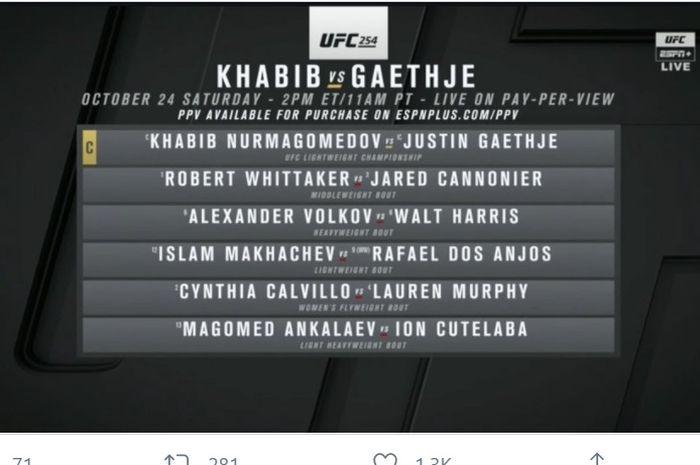 Main card UFC 254.
