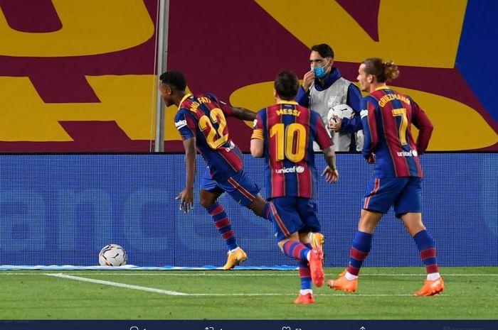 Wonderkid Barcelona merayakan gol ke gawang Villarreal pada laga pekan pertama Liga Spanyol 2020-2021 di Stadion Camp Nou, Senin (28/9/2020) dini hari WIB.