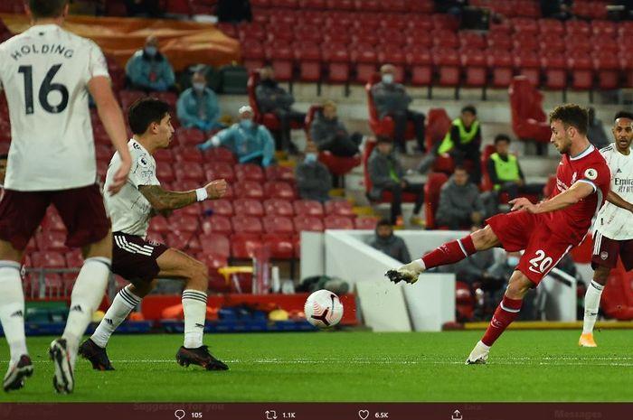 Diogo Jota berhasil mencetak gol debutnya untuk Liverpool ke gawang Arsenal pada pekan ketiga Liga Inggris 2020-2021, Selasa (29/9/2020) dini hari WIB.