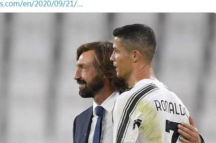 Pelatih Juventus, Andrea Pirlo, merangkul Cristiano Ronaldo.