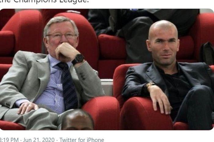 Pelatih legendaris Manchester United, Sir Alex Ferguson (kiri), bersama juru taktik Real Madrid, Zinedine Zidane.