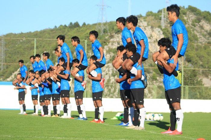 Skuad timnas U-19 Indonesia saat menjalani Pemusatan Latihan (TC) di Kota Split, Kroasia.