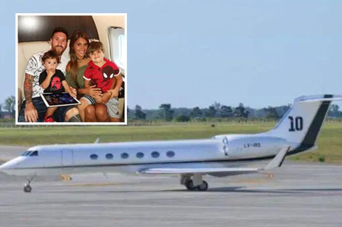 Pesawat jet pribadi milik Lionel Messi.