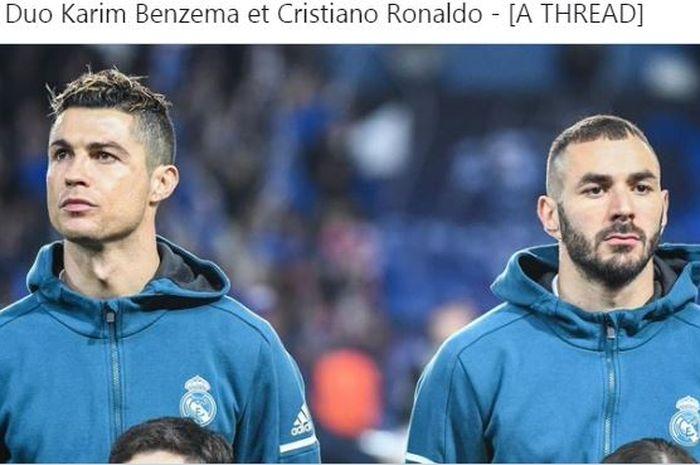 Cristiano Ronaldo dan Karim Benzema saat sama-sama berseragam Real Madrid.