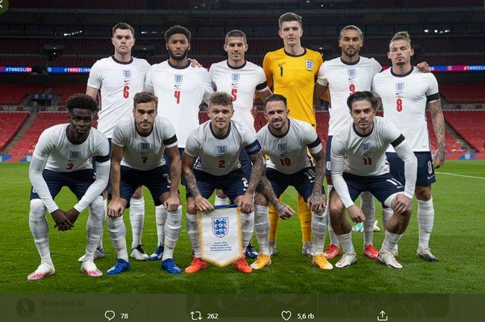 Skuad timnas Inggris ketika berhadapan dengan timnas Wales pada laga uji coba di Stadion Wembley, Kamis (8/10/2020) atau Jumat dini hari WIB.