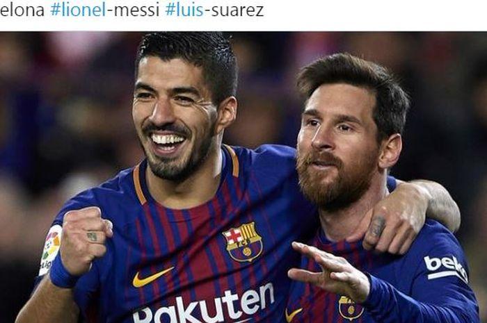 Luis Suarez dan Lionel Messi melakukan selebrasi saat berseragam Barcelona.