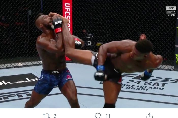 Tendangan spektakuler Joaquin Buckley di UFC Fight Island 5, Minggu (11/10/2020) pagi WIB.