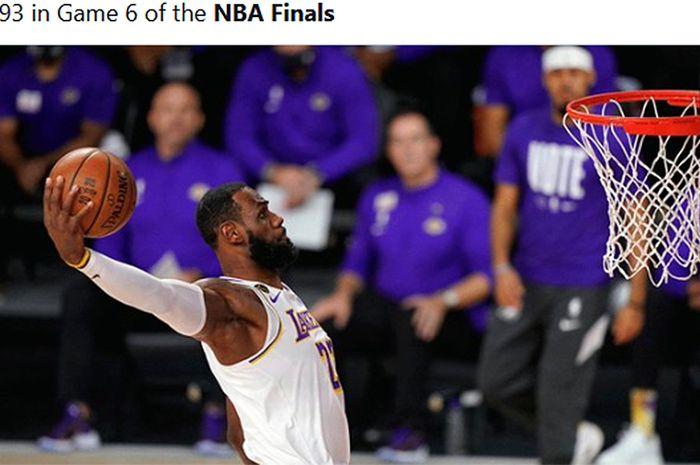 LeBron James membawa Los Angeles Lakers mengunci gelar juara setelah mengandaskan perlawanan Miami Heat pada gim keenam final NBA 2020 di AdventHealth Arena, Florida, Amerika Serikat, 11 Oktober 2020.