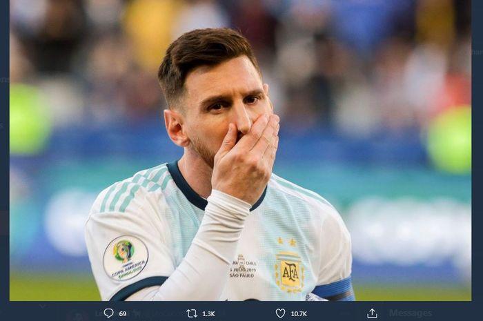 Reaksi kapten timnas Argentina, Lionel Messi.