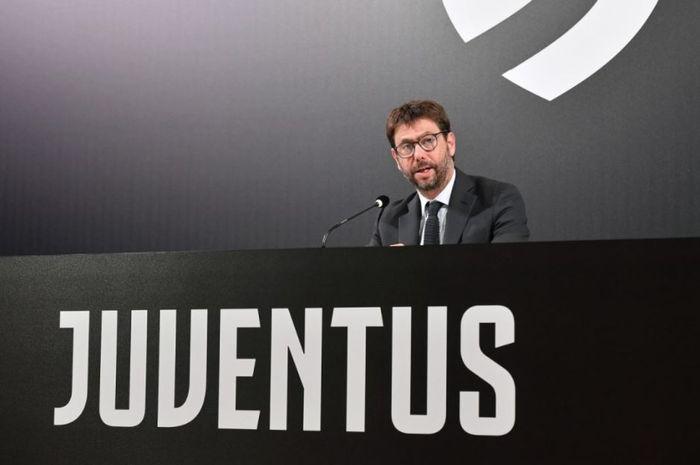 Presiden Juventus, Andrea Agnelli, dalam sebuah konferensi pers baru-baru ini,  Jumat (16/10/2020).