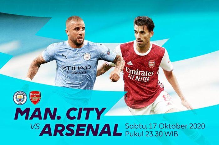 Poster jadwal laga Manchester City vs Arsenal di Liga Inggris.