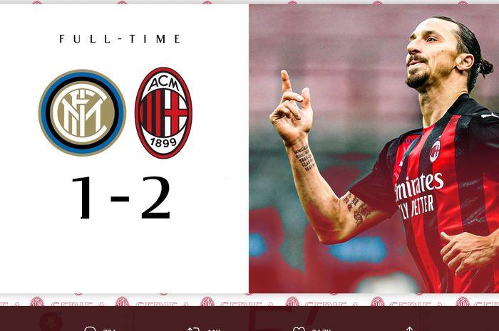 AC Milan mengalahkan Inter Milan 2-1, Sabtu (17/10/2020) di Giuseppe Meazza, untuk menjaga rekor sempurnanya di Liga Italia.