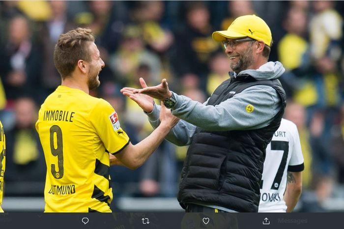 Juergen Klopp dan Ciro Immobile saat masih sama-sama di Borussia Dortmund.