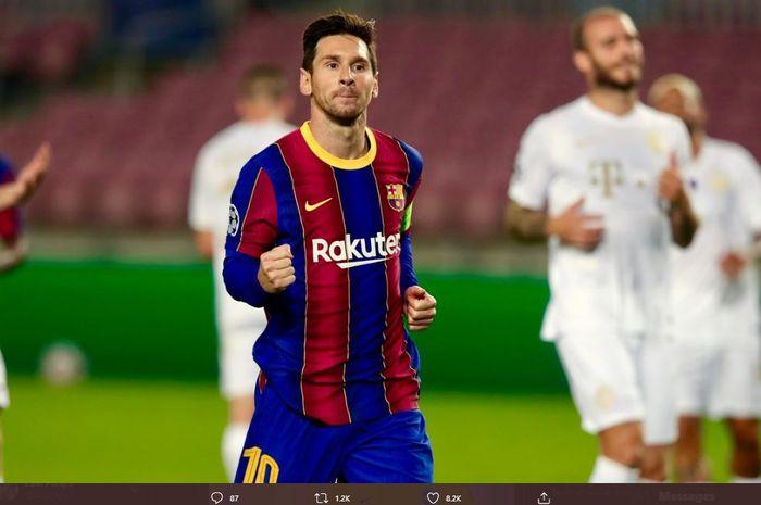 Superstar Barcelona Lionel Messi merayakan golnya ke gawang Fran ங்க ois pada Rabu (21/10/2020) dini hari WIB pada laga penyisihan grup Liga Champions 2020-2021.