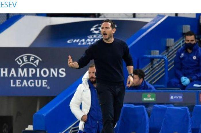 Ekspresi pelatih Chelsea, Frank Lampard, dalam laga Grup E Liga Champions melawan Sevilla di Stadion Stamford Bridge, Selasa (20/10/2020).