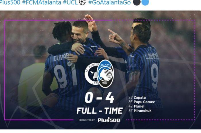 Atalanta menang besar atas Midtjylland pada matchday 1 Liga Champions 2020-2021, Rabu (21/10/2020) di MCH Arena, Herning.