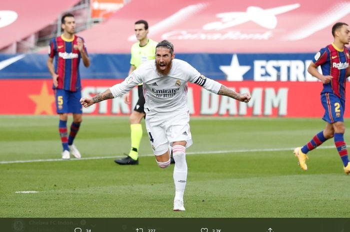 Ekspresi kapten Real Madrid, Sergio Ramos, usai bobol gawang Barcelona dalam laga bertajuk el clasico, Sabtu (24/10/2020).