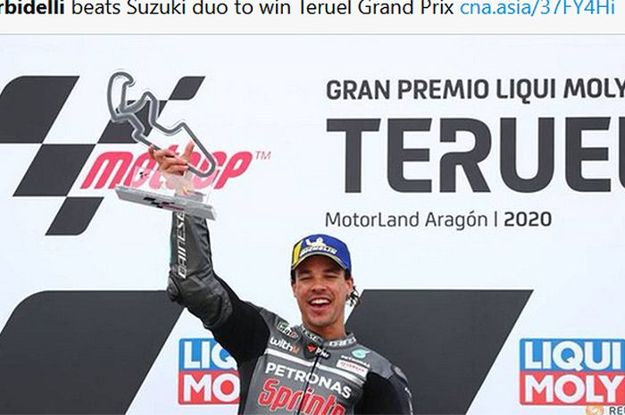 Pembalap Petronas Yamaha SRT, Franco Morbidelli, berhasil memenangi balapan MotoGP Teruel di Sirkuit Aragon, Spanyol, 25 Oktober 2020.