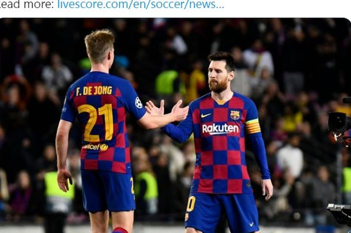Gelandang Barcelona, Frenkie de Jong, menyebut perbedaan Lionel Messi dengan 23 pemain Barca lainnya.