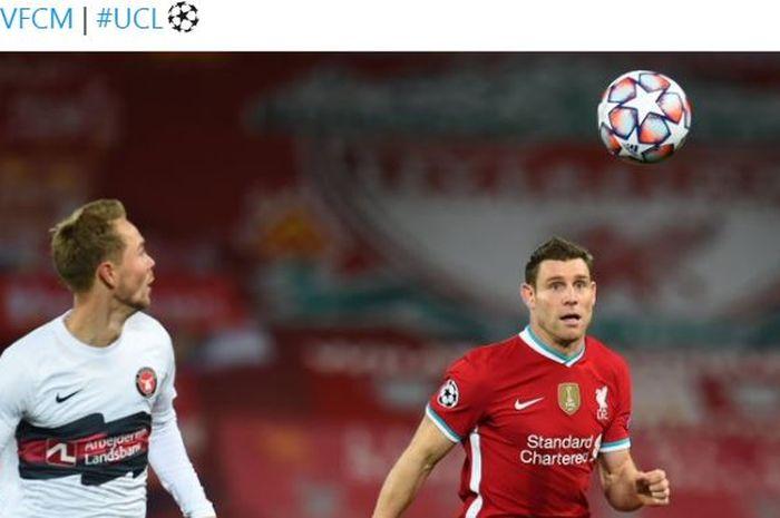 Bermain tanpa Sadio Mane, Roberto Firmino, dan Mohamed Salah, Liverpool ompong alias tak bertaring ketika menjamu Midtjylland, Selasa (27/10/2020).